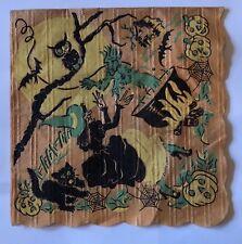 Halloween Crepe Paper Napkin Witch Demon Black Cat Owl Jack O Lantern Vintage