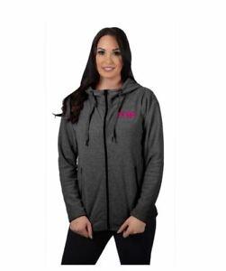 FXR Womens Cozy Fleece Hoodie Jacket, Black Heather / Pink, Grey Hoody, Medium