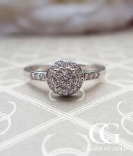9ct White Gold Diamond Cluster & Shoulder Ring - Vintage Engagement Anniversary