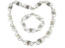 Art Deco Damen 835 Silber Hammerschlag Set Armband & Collier Handarbeit antik
