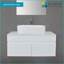 Bathroom Matte White Wall Hung Vanity Matt Satin Ceramic Basins Stone Top 900