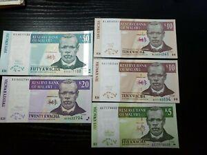 🇲🇼 Malawi 5,10,20,50 Kwacha 2004-2007 P36,P43,P52,P53  banknote  UNC 012321-9