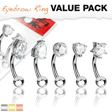 5 Pack of Curved Eyebrow Ear Barbell Piercings with Assorted Gem Tops