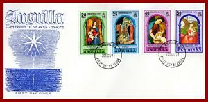 Anguilla 1971 Christmas paintings FDC, SG 117-120 Sc 132-135, YT 101-104