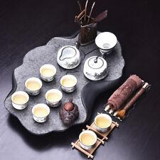 black stone tea tray + porcelain tea set chinese kungfu tea set ceramic tea pot