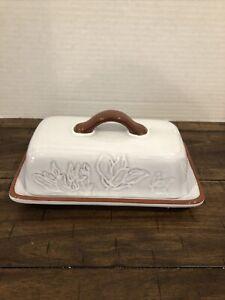 Rare Pier 1 Imports Terra Cotta Butter Dish White Floral Fauna EUC