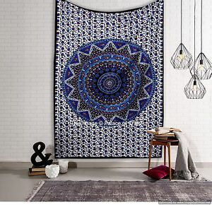 Indian Wall Hanging Tapestry Twin Size Star Mandala Dorm Decorative Bedspread