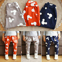 Kid Boys Casual Slacks Harem Pants Mickey Mouse Joggers Trousers Sweatpants 1-6Y