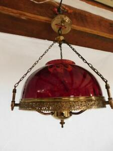antique cranberry chandelier ceiling fixture brass B&H ruby red Art Deco lamp