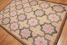 6' x 9' Hand Woven French Needlepoint Aubusson 100% Wool Area Rug 6x9