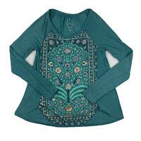Lucky Brand Women XS Boho Long Sleeve Blouse Shirt Stretch Top Green