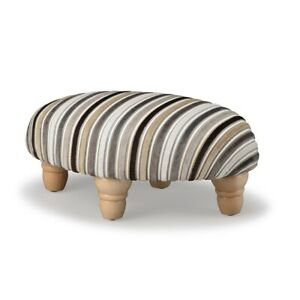 Biagi Upholstery & Design Black Striped Small Oval Footstool with Wood Feet