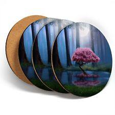 4 X Posavasos-Mágico Rosa árbol Bosque #45649