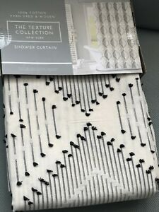 The Texture Collection New York Fabric SHOWER CURTAIN White /Black Cotton New