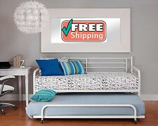Twin Trundle Bed For White Daybed Metal Frame Roll Up Bunk Guest Kid Slide Under