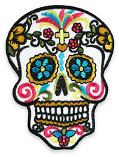 Mexican Sugar Candy Skulls Psychobilly Biker Embroidered Iron on Sew Patch Badge