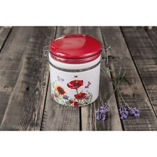 Porcelain Jar Container Tea Coffee Sugar Ceramic Red Flowers Canister Opium Fine