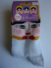 Ja3751    3 paires de chaussettes fille poupées russes ** ATOUFIL ** P 31/34