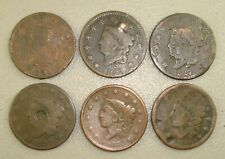 Lot of (6) Different 1821-1838 Coronet Head Large Cents VG-F Details