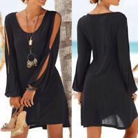 Womens Casual Loose Hollow Out Sleeve Kaftan Beach Holiday Shirt Tops Mini Dress