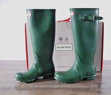 NEW Hunter Women's Green Matte Rubber Rain Boots Original Tall 10 MED WFT1000RMA