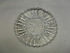 "Vintage ~ Crystal Etched Glass Fruit Embossed Serving Dish/Platter ~ 8¼"" Dia."