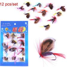 12pcs/set Tail Silver Streamer Minnow Fishing Flies Fly Moth Fishing Lures