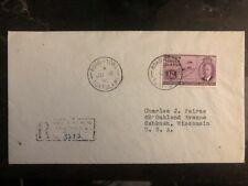 1951 Tortola British Virgin Islands Registered Cover To Oshkosh WI USA