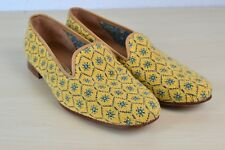 Stubbs & Wootton Palm Beach Yellow Blue Snowflake Needlepoint Womens Shoes 10.5