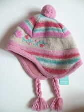 Monsoon Girls Pink Beige Striped Winter Hat 1 2 Years Yrs 12 18 24 Months