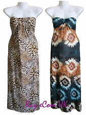 New Ladies Printed Maxi Long Cat Walk Summer Strapless Dress UK Size S to L