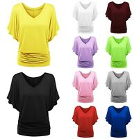 Plus Size Women's Chiffon Batwing Sleeve Tops Blouse Summer Casual Baggy T Shirt