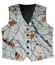 White Snowfall Camo Vest - Satin Country Wedding Rustic Redneck Men's Formal