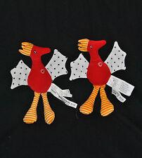 Lot De 2 Peluches Doudou Oiseau Rouge Coeur IKEA Kackel Pattes Orange Aile Pois