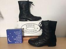 STEVE MADDEN (Troopa) Women's Black Leather Combat Boots-Size 9.5M EUC!