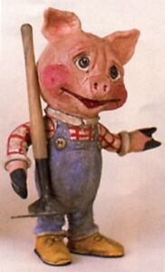 Salamander Poliwoggs LTD Edition Signed PIG FARMER WITH RAKE Retired!