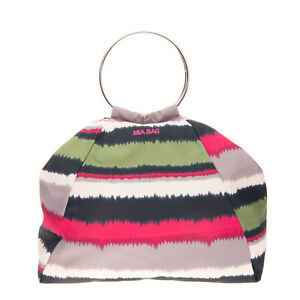 MIA BAG Tote Bag Large Striped Metal Ring Handles Slouchy Magnetic Snap