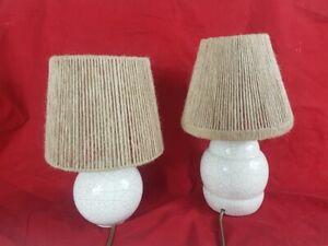 Paar Kleine Lampen aus Keramik Krakelee