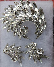 Vintage Signed Flawless Sherman Brooch and Earrings Set - Icy Crystals