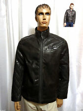 Bar III mens Graphite Grey Quilted Faux Leather Bomber jacket M NEW Macys