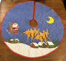 "Vtg Christmas Tree Skirt Santa Reindeer Sleigh Printed Polka Dots 34"" Retro"