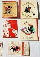 Lot Vintage SCOTTY DOG Christmas Card - all 1930s - Great illustrations