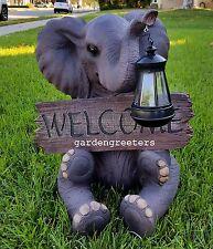 SOLAR ELEPHANT WITH WELCOME STATUE SOLAR ELEPHANT FIGURINE