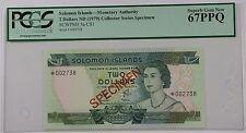 (1979) Solomon Islands $2 Specimen Note SCWPM# 5a-CS1 PCGS 67 PPQ Superb Gem New