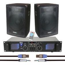 "2x Ibiza Sound Disco 12B 12"" 600W PA Sound System DJ inc. Amplifier and Cables"