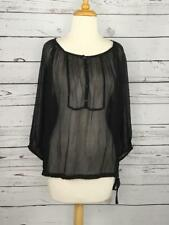 Eileen Fisher Size M Black Silk Blouse Shear Peasant