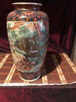 "Antique Vintage Asian Satsuma Vase Geisha & Warrior Gold & Multi Color 12 3/8"""