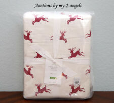 NEW Pottery Barn JUMPING REINDEER Organic Flannel King Sheet Set *Christmas Red