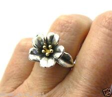 Retired James Avery Flower Ring 18kt Gold Center LARGER Version~ Rare!