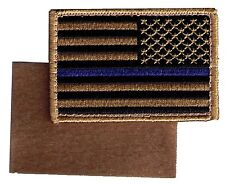 "HOOK/LOOP US flag 3""x2""  black coyote desert stars right blueline patch HELEN-V"